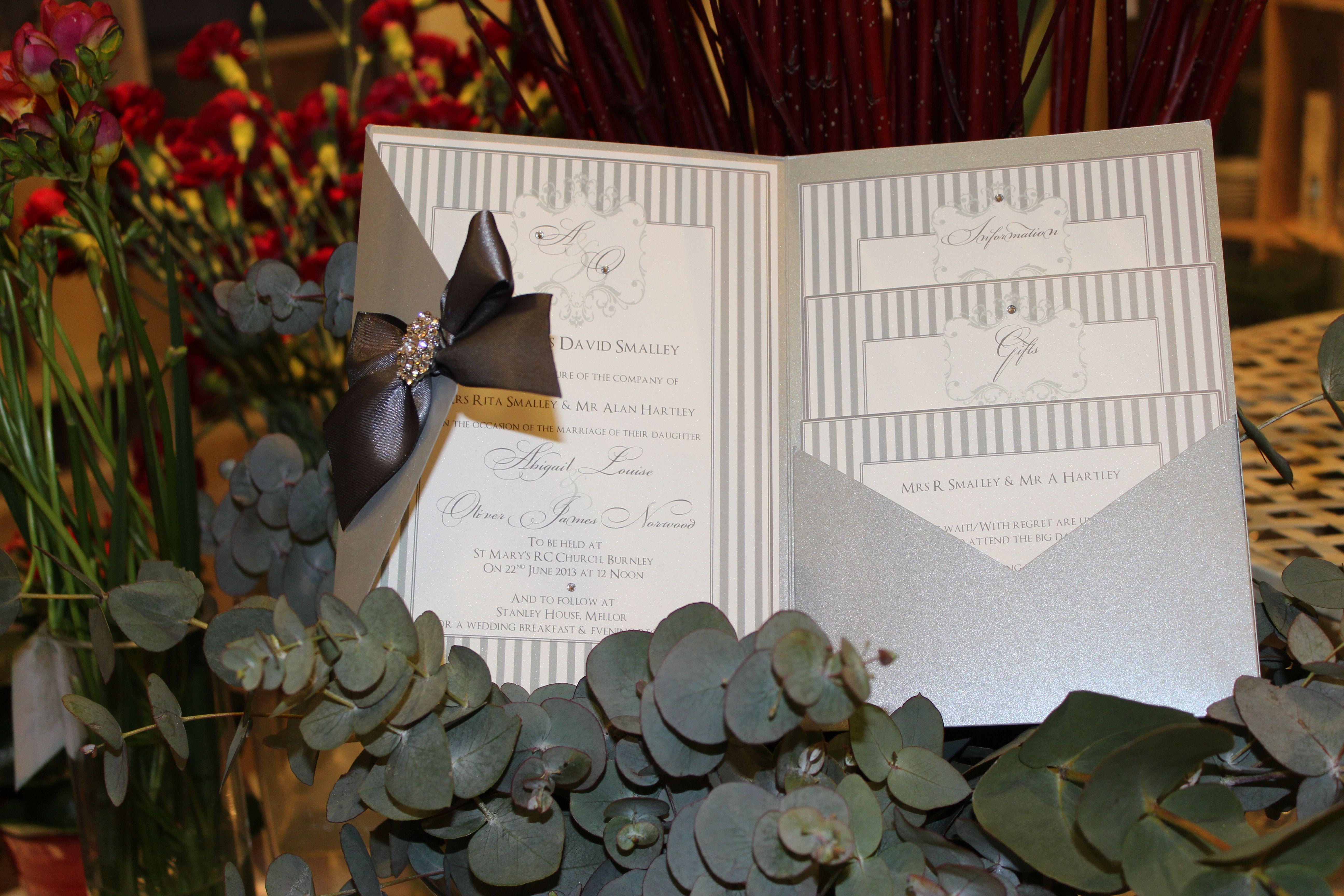 Very elegant large pinstripe pocketfold wedding invitation - email ...