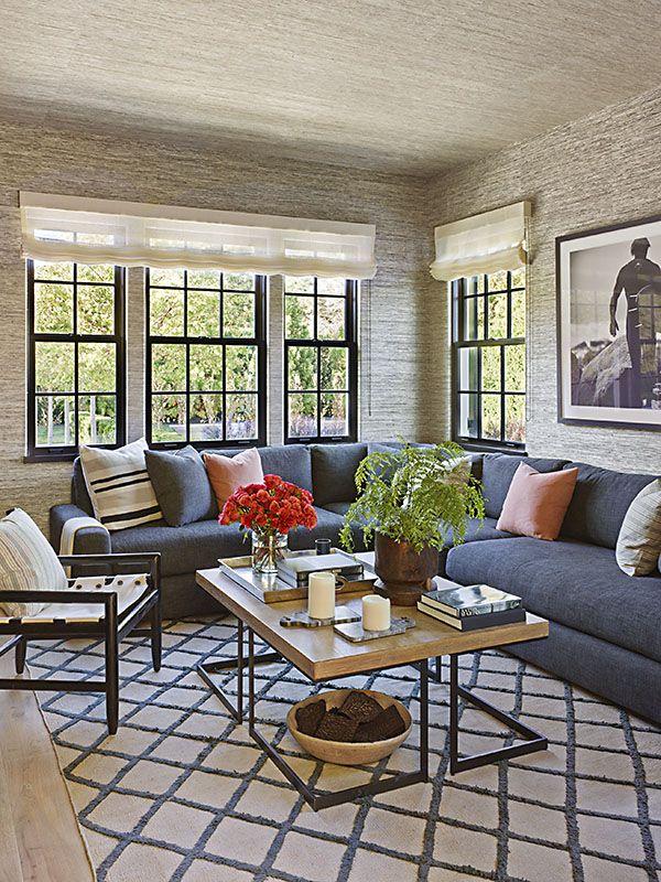 den, grasscloth wallpaper, ceiling, black window trim
