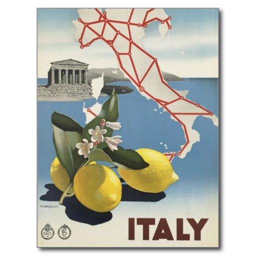Carte Postale Tourisme vintage de voyage de l'Italie | Vintage
