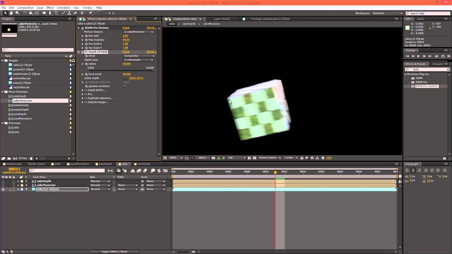 AE - motion blur+DOF - MentalRay | Tutorials // Compositing