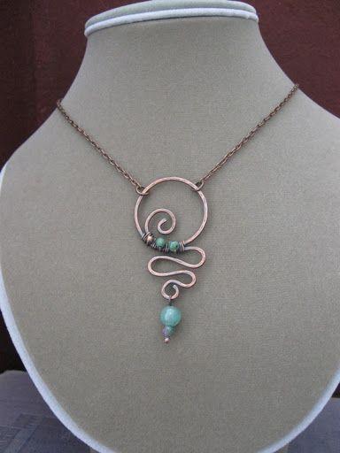 Hammered copper wirebead pendant JewelryBeads Pinterest