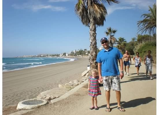 Boardwalk in Marbella, Spain.  We found Marbella wonderfully kid friendly, with miles of boardwalk and a charming old town.  Make sure your stroller does well on cobblestones, though :)