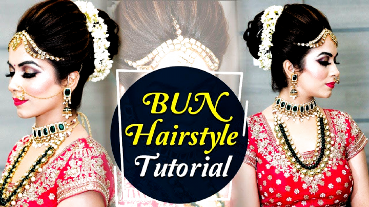 Bun Hairstyle Tutorial Step By Step Indian Bridal Hairstyle Tutorial V Hairstyles For Indian Wedding In 2020 Hair Bun Tutorial Hair Styles Bridal Hair Buns