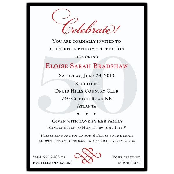Classic 50th Birthday Celebrate Party Invitations Over the Hill - family gathering invitation wording