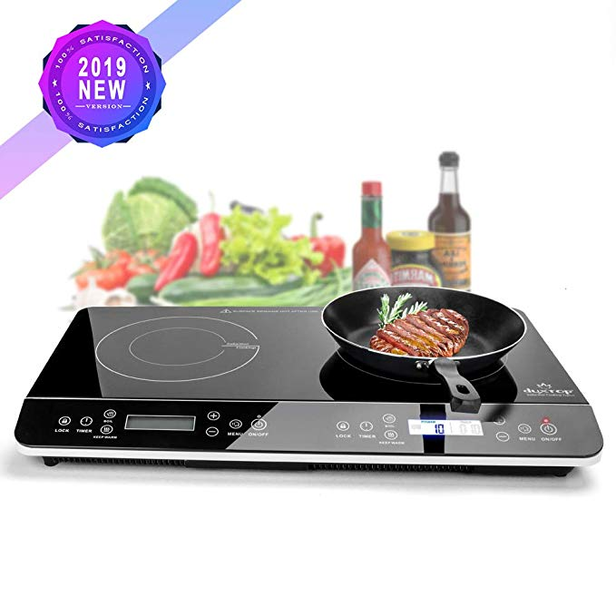 Amazon Com Duxtop 9620ls Lcd Portable Double Induction Cooktop 1800w Digital Electric Countertop Burner Sensor Touch Stove Induction Cooktop Cooktop Induction