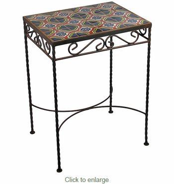 Wrought Iron Talavera Tile Side Table 12 Tiles C With