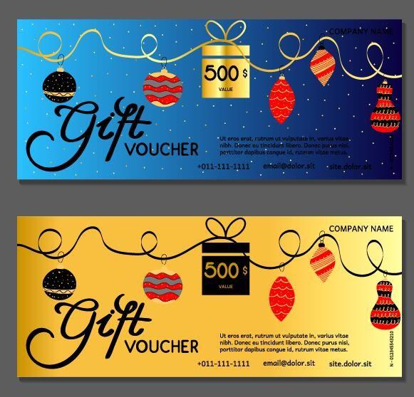 New Year gift voucher template vectors set 08 -   www - payment voucher template