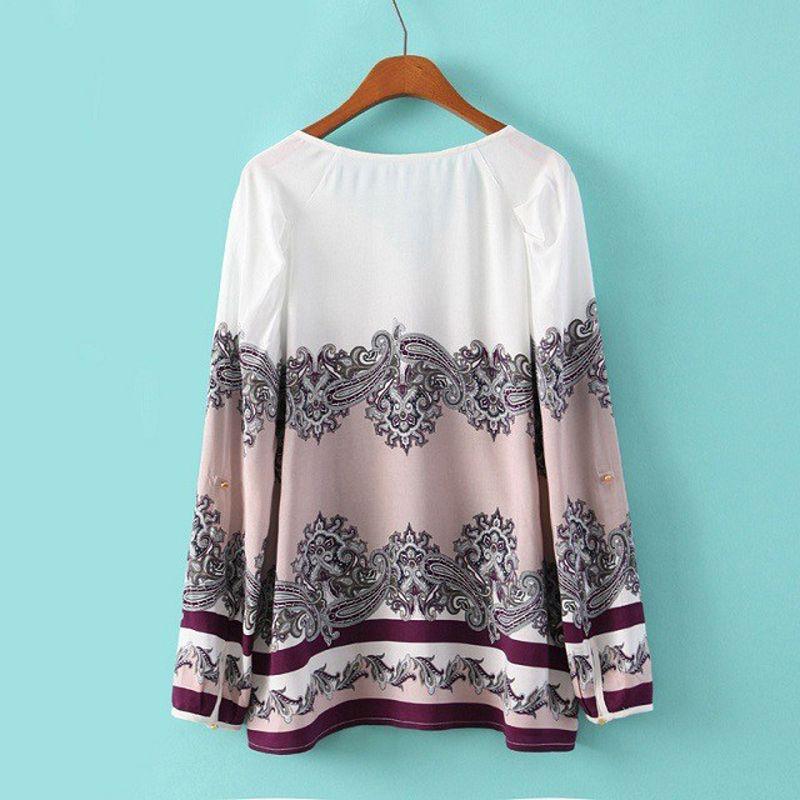 Blusa Feminina 2015 Brand Summer Style Floral Print Women Blouses Long Sleeve V Neck Chiffon Shirt Women Tops Plus Size-in Blouses & Shirts from Women's Clothing & Accessories on Aliexpress.com | Alibaba Group