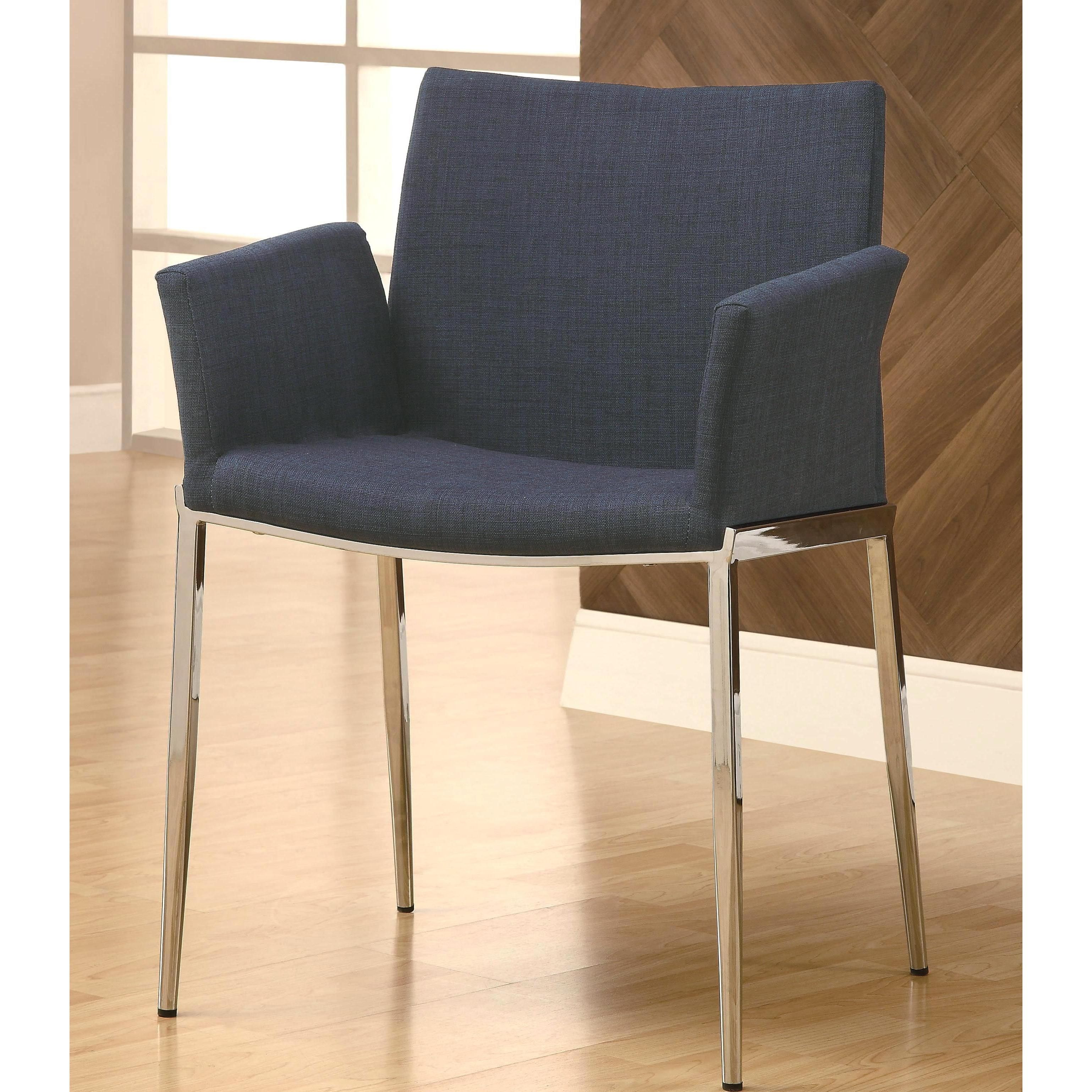 Mcguire Upholstered Dining Chairs with Chrome Legs Set of 2