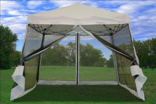 8x8 10x10 pop up canopy party tent gazebo ez with net white patio lawn garden. Black Bedroom Furniture Sets. Home Design Ideas