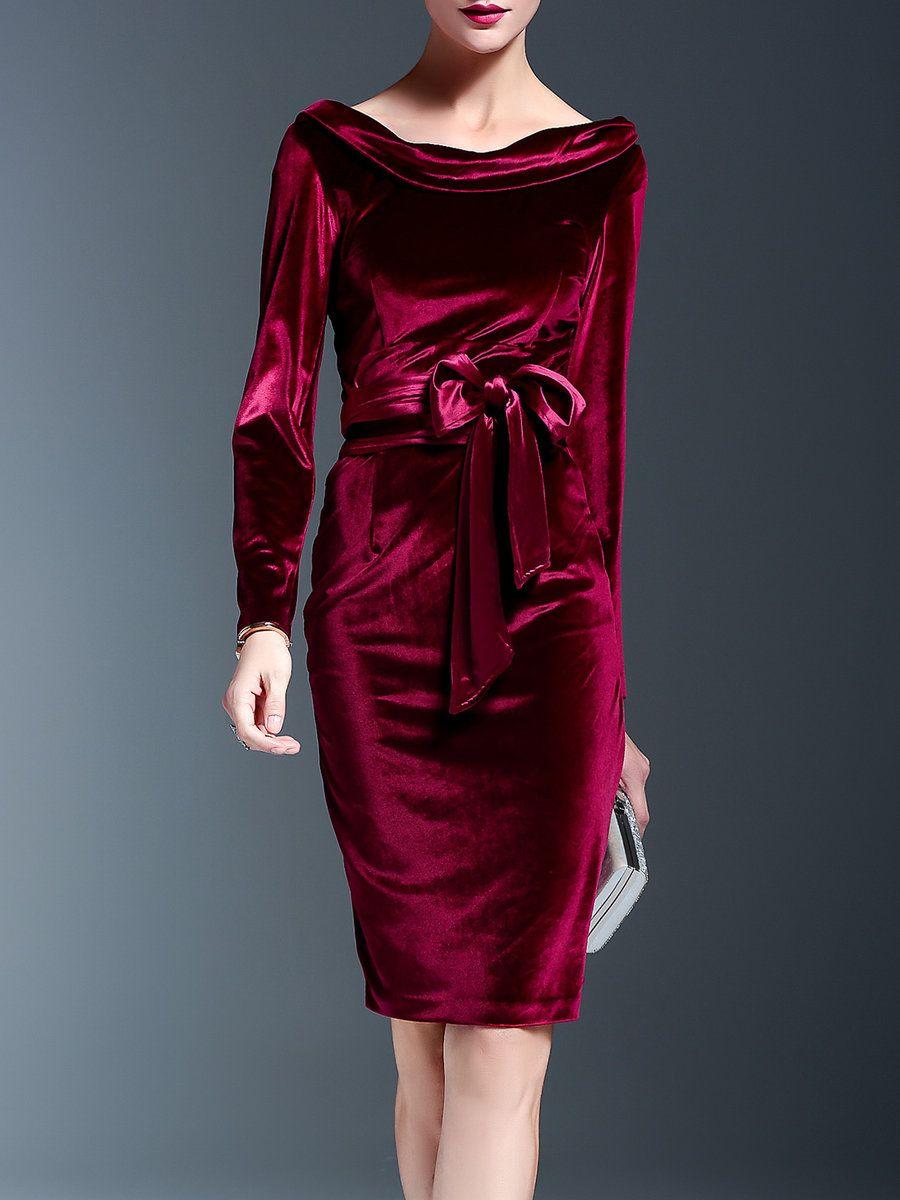 89f4e14a916ef Shop Midi Dresses - Solid Velvet Crew Neck Elegant Long Sleeve Midi Dress  online. Discover