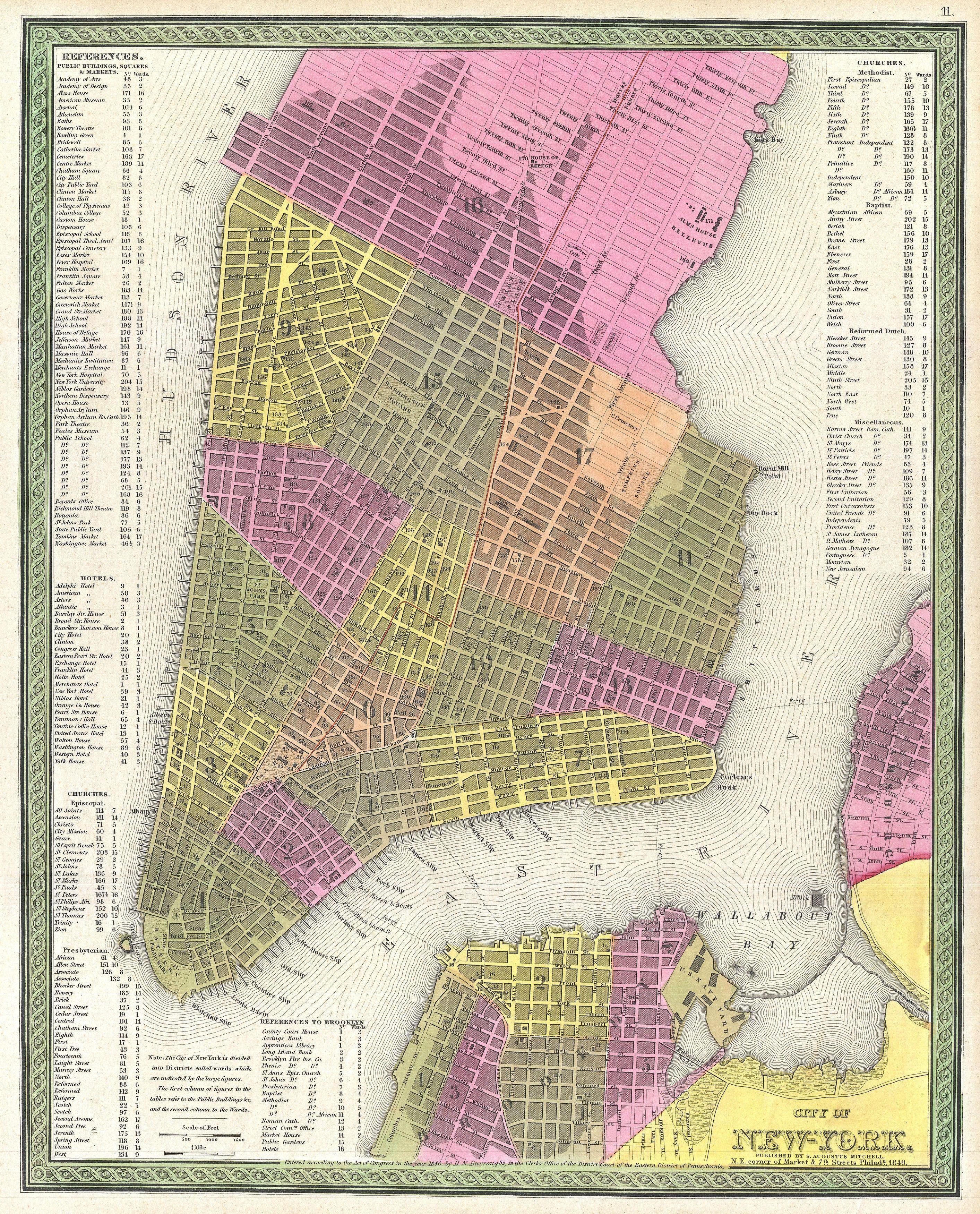 Gorgeous 1848 map of New York City Interesting history stuff