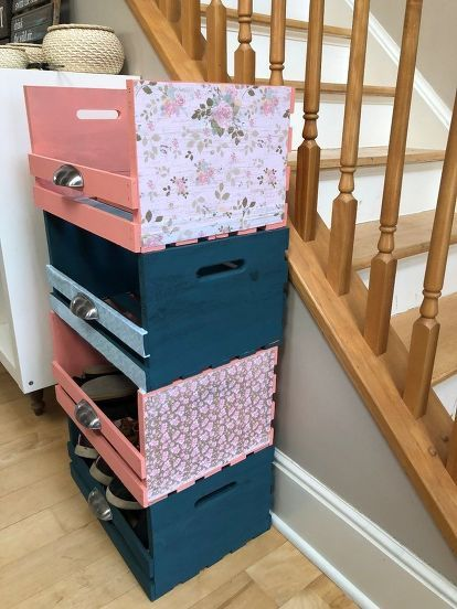 Teal and Coral Wooden Crate Storage Cubbies - Shabby Chic images