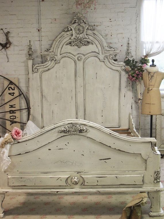 Painted Cottage Chic Shabby Queen King Bed Bd20b Country