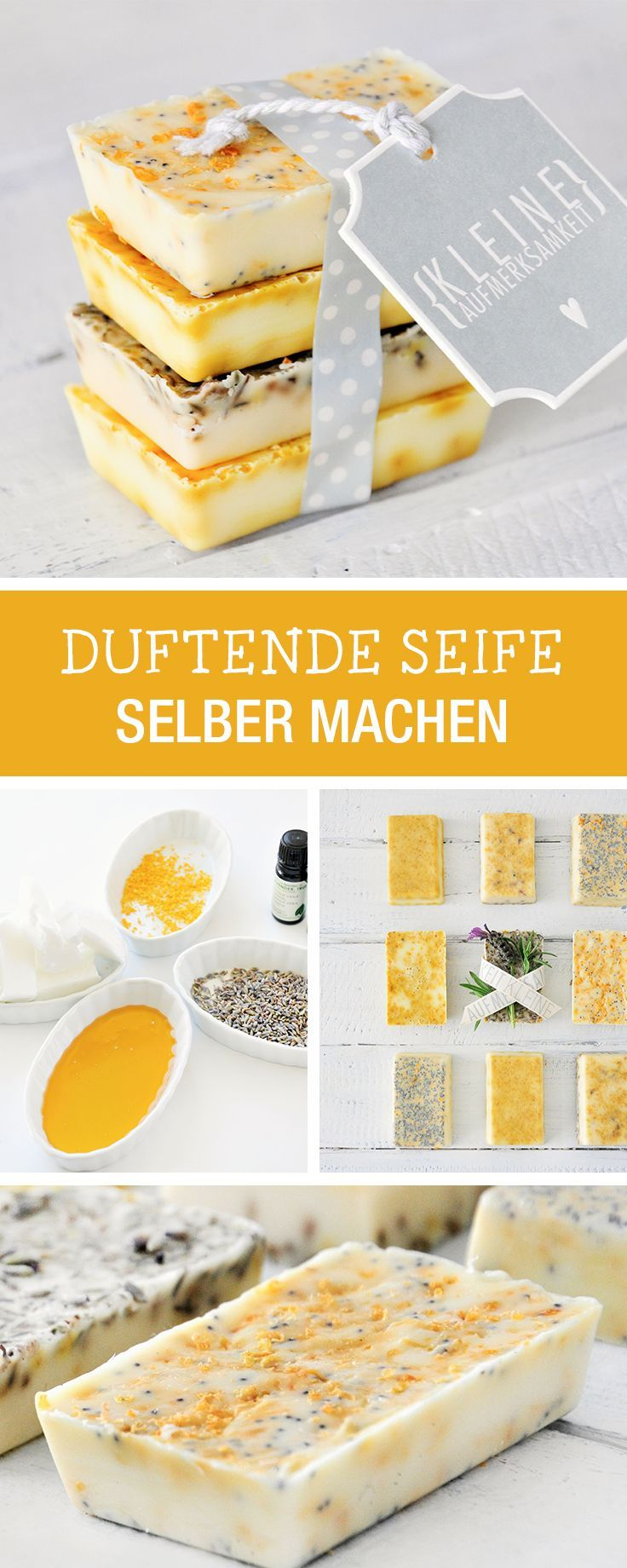 DIY-Anleitung: Duftende Seife herstellen, kleines Geschenk aus Zitrone, Lavendel und Grapefruit, zarte Haut / DIY tutorial: making fragranted soap, hand wash for soft skin via DaWanda.com #diysoap