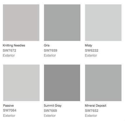 Exterior paint color combinations grey sherwin williams for Light gray color swatch