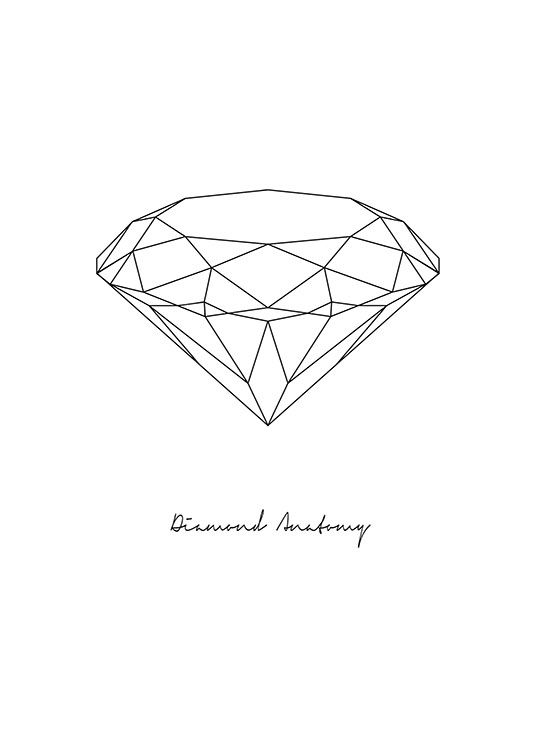 Stylish Black And White Poster With A Diamond And The Text Diamond