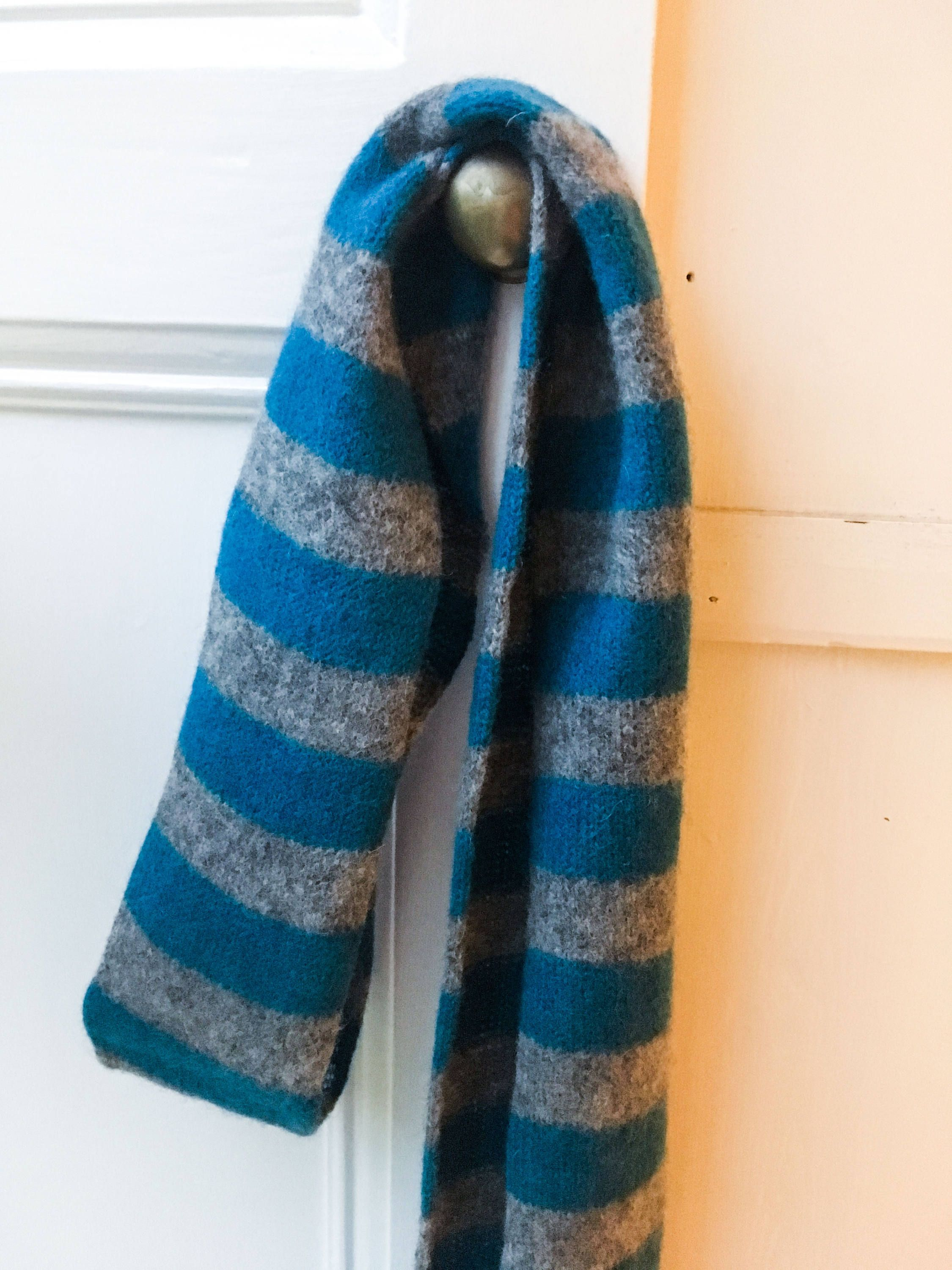67d965240d820 Soft Skinny Scarf - Felted Merino Lambswool - Teal Blue and Grey Knit  Skinny Scarves,