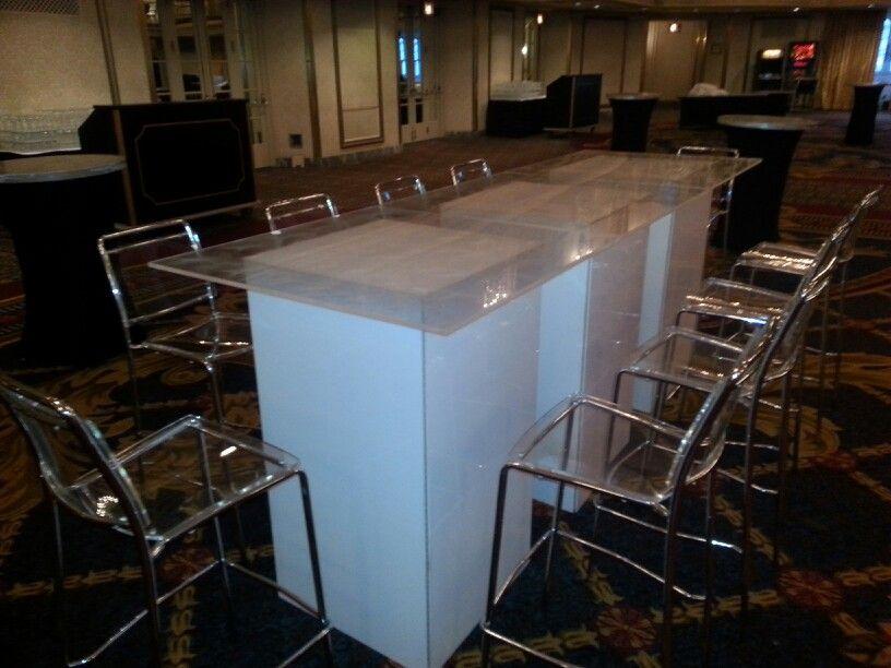 Safina Acrylic Bar Chair With White Acrylic Hi Boy Tables Hilton Chicago