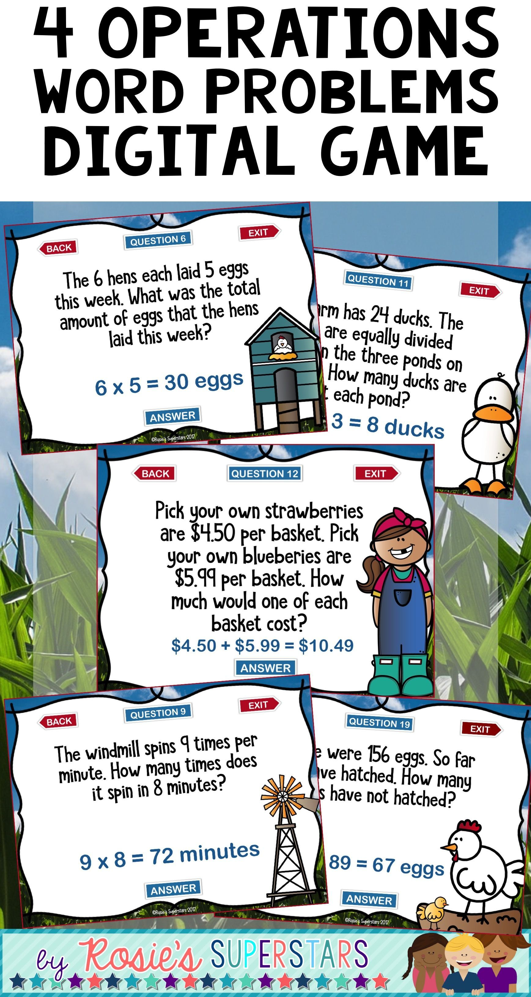 Mixed Operations One Step Word Problems Digital Game