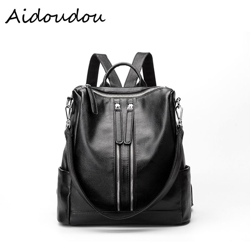 Genuine Leather Women Backpack 2017 Hot High Quality Famous Brand Preppy  Style String Women School Bag Girl Travel Bags BA4 d42105ab43602