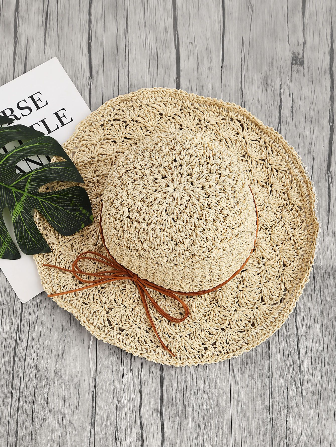 Shop Bow Tie Straw Beach Hat online. SheIn offers Bow Tie Straw Beach Hat    more to fit your fashionable needs. d2f1f538f73