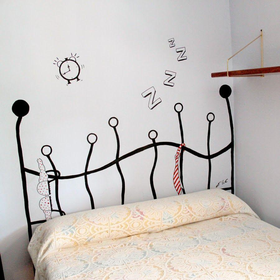 C Mo Hacer Un Cabecero Pintado En La Pared La Curiosidad Que No  ~ Murales Decorativos Para Habitaciones De Adultos