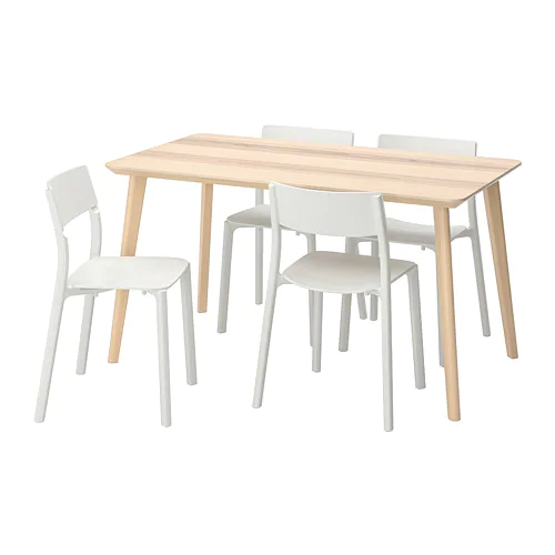 Ikea Lisabo Janinge Ash Veneer White Table And 4 Chairs