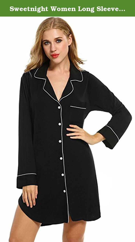 b113dd68da Sweetnight Women Long Sleeve Sleepwear Luxury Button-Front Nightshirts (S