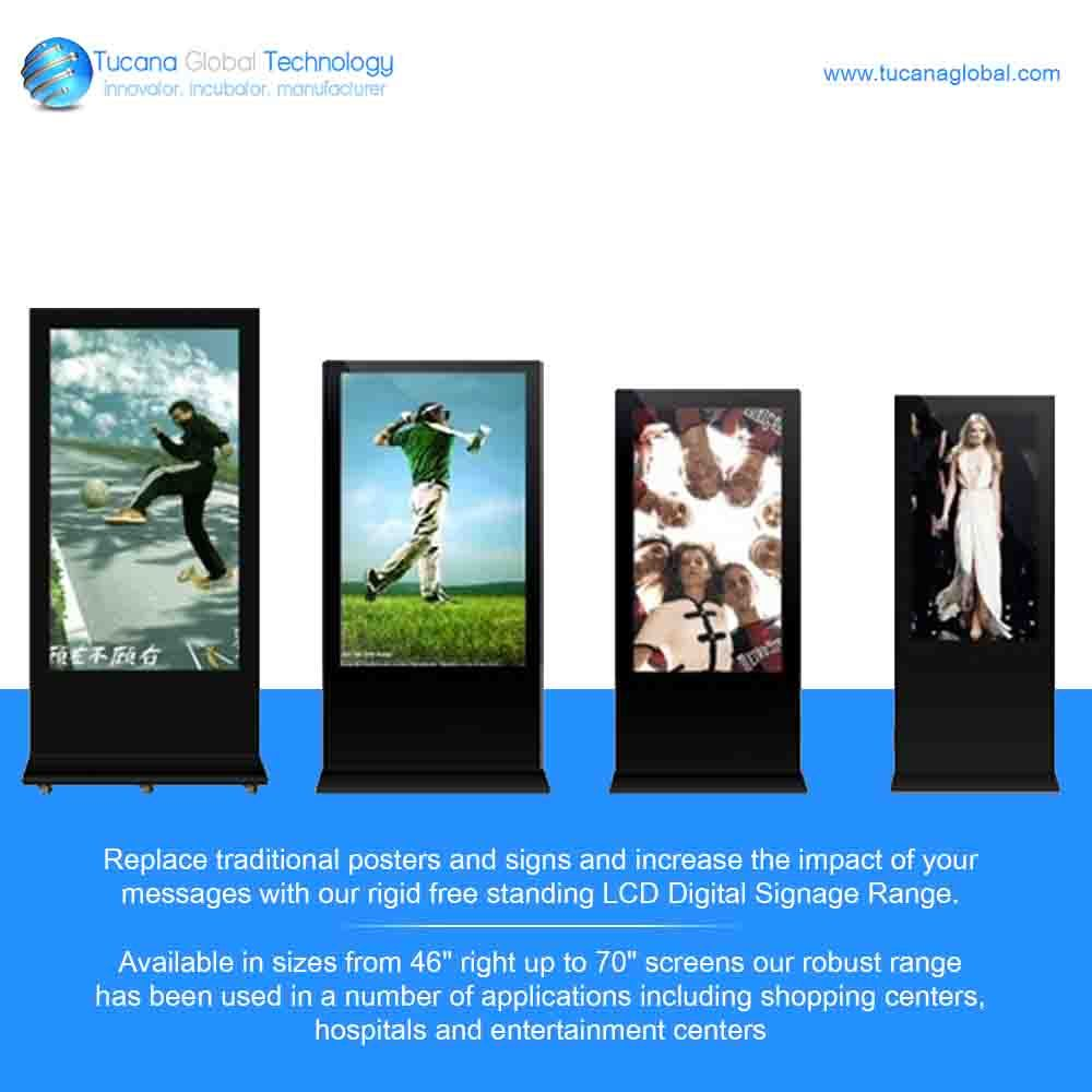 """Replace #traditional #posters and #signs and increase the #impact of your #messages with our rigid free standing #LCD #DigitalSignage Range. Available in sizes from 46"""" right up to 70"""" screens our robust range has been used in a number of applications including #shopping centers, #hospitals and #entertainment centers. #TucanaGlobalTechnology #Manufacturer #HongKong"""
