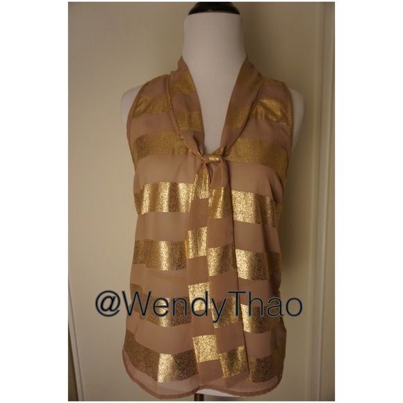 Gold strip top OFFER ME A PRICE?  ❌I DON'T DO TRADES❌ Charlotte Russe Tops Blouses