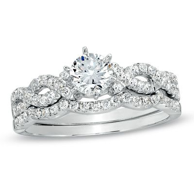 T W Diamond Braided Bridal Set In 14k White Gold 3 500