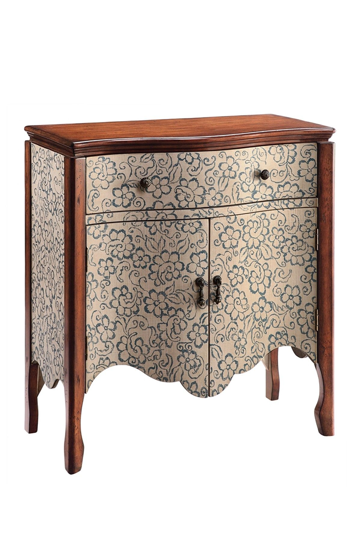 Osiris Cabinet One Drawer Hand Painted Accent Cabinet With Two Doors And A  Scalloped Apron. Product: Cabinet Construction Material: WoodColor: Brown  ...