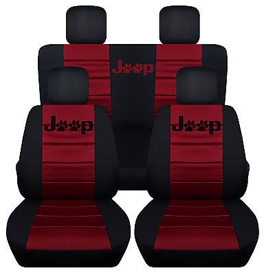 Front Rear Black Burgundy Seat Covers Paw Prints 2door Jeep