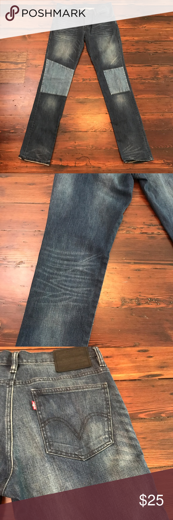 Levi's 510 Denim Jeans Super Skinny Fashion Dark In excellent used condition.  These were in storage and are like new!  Lovely dark denim with lots of whiskering and sandblast detailing. Feature color block patches of lighter denim on the knees. Levi's Jeans Skinny