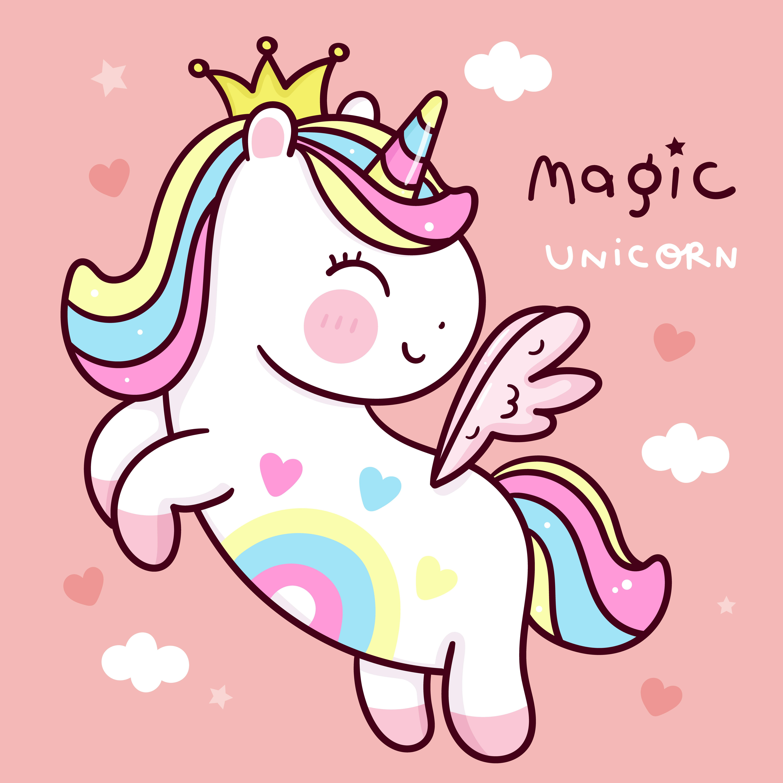 Cute Unicorn pegasus cartoon fly on sky princess pony cartoon pastel background Valentines day