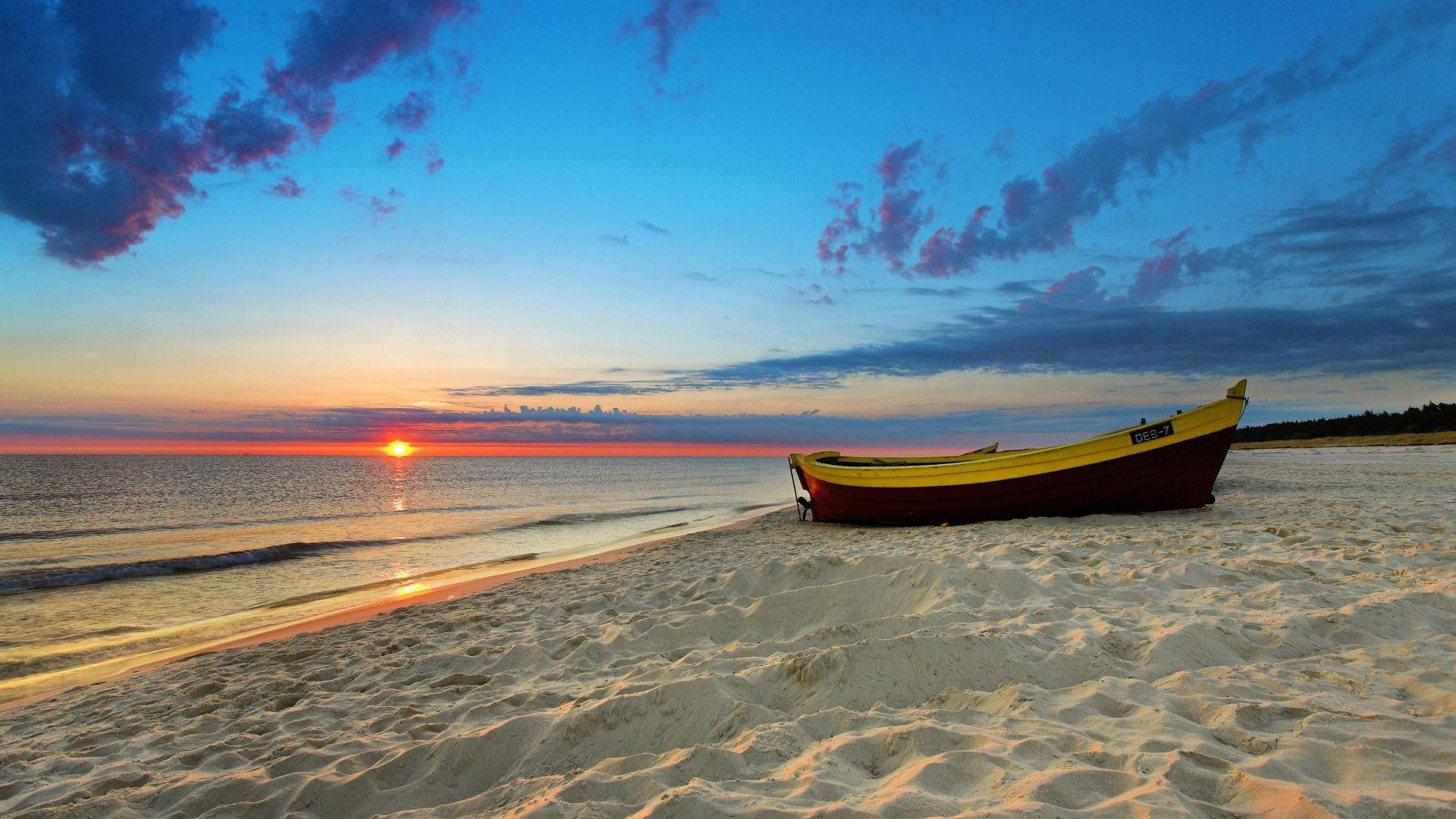 Nature Sunset Sea Beach Boat 1080p Wallpaper Hdwallpaper Desktop Beach Wallpaper Beach Background Beach Sunset Wallpaper