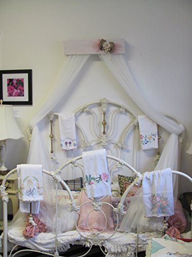Shabby Chic Princess Bed Crown Canopy Crib Baby Nursery Decor Princess Girlu0027s Bedroom FREE White curtains & Shabby Chic Princess Bed Crown Canopy Crib Baby Nursery Decor ...