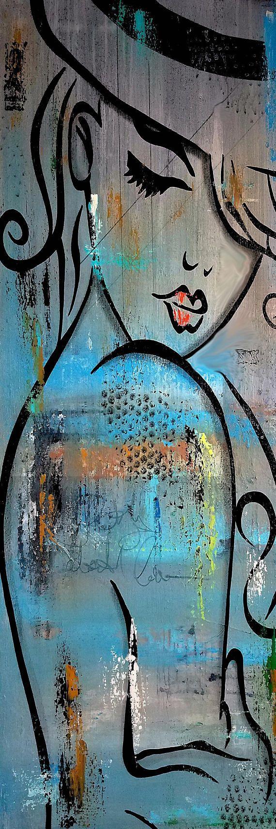 Die besten original abstrakte Kunst, Pop Art, moderne Kunst, Skulptur und moderner Malerei. Große Gemälde mit hellen Farben und kräftigen Linien, die Sie machen Lächeln. Leinwanddrucke sind von hand signiert. Künstler: Thomas C. Fedro Titel: Tiefer Liebe Größe: 16 x 48 x 1 1/4 MEDIUM: