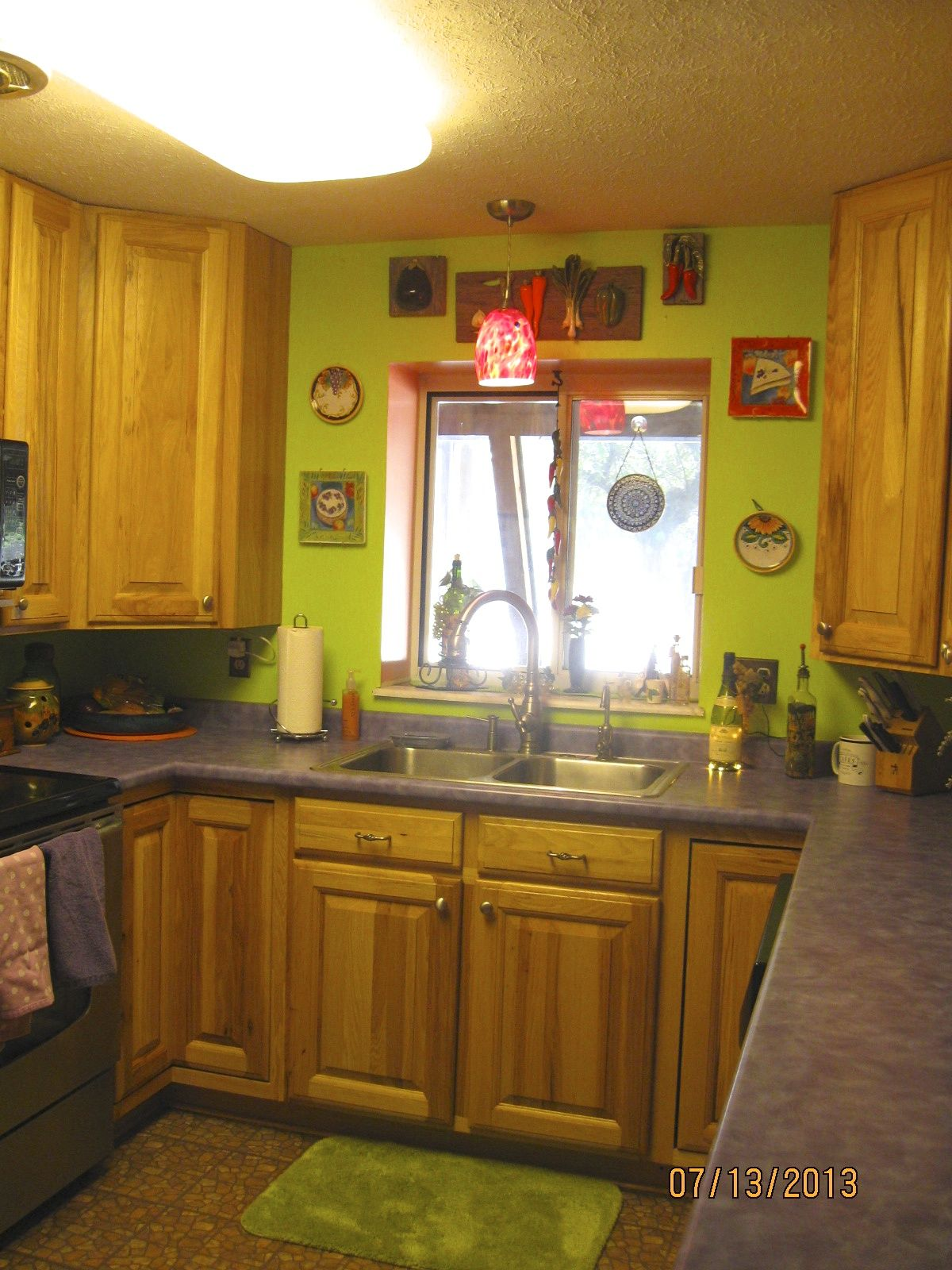 Lime Green Kitchen Ideas Part - 41: My Lime Green Kitchen Wall With Purple Counter Tops.
