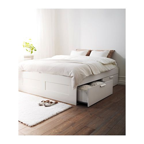 BRIMNES Bed frame with storage, white, Luröy | Some Things ...