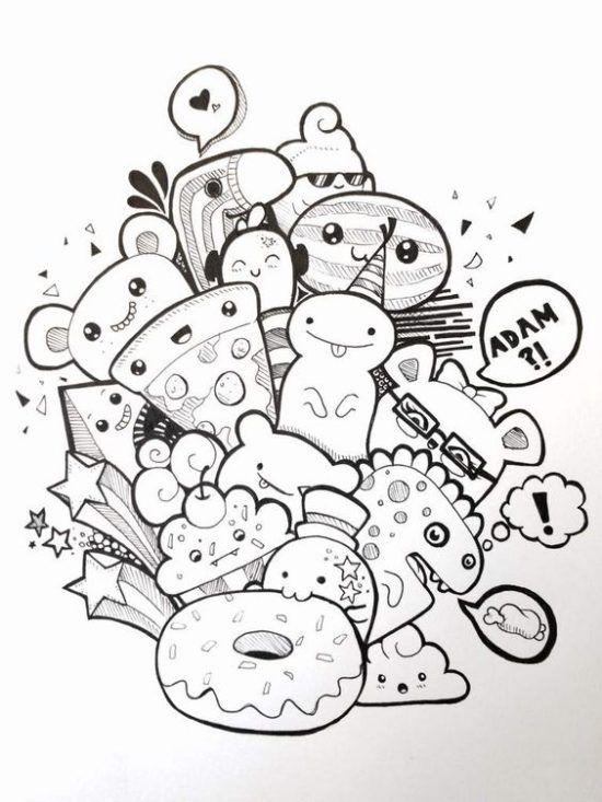 45 Imagenes Para Dibujar Colorear Y Pintar Bonitas Y Faciles Saberimagenes Com Arte De Manualidades Faciles Dibujos Kawaii Garabatos Lindos