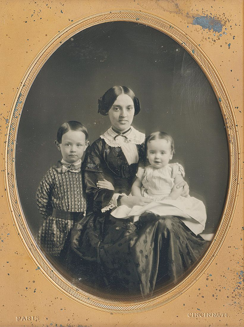 Smiling Young Mother With Two Children, 1840S -8784