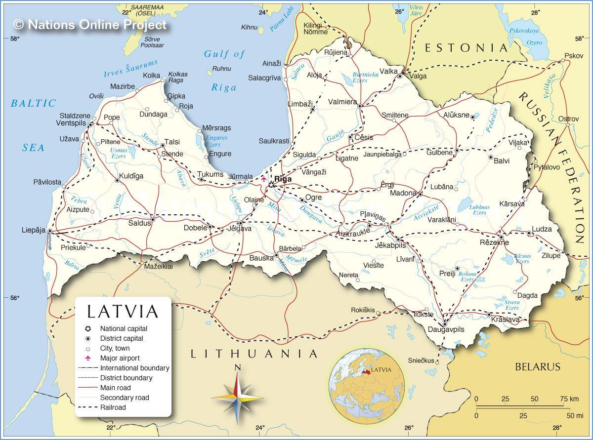 Political Map of Latvia Latvia SVEIKS Pinterest Baltic sea