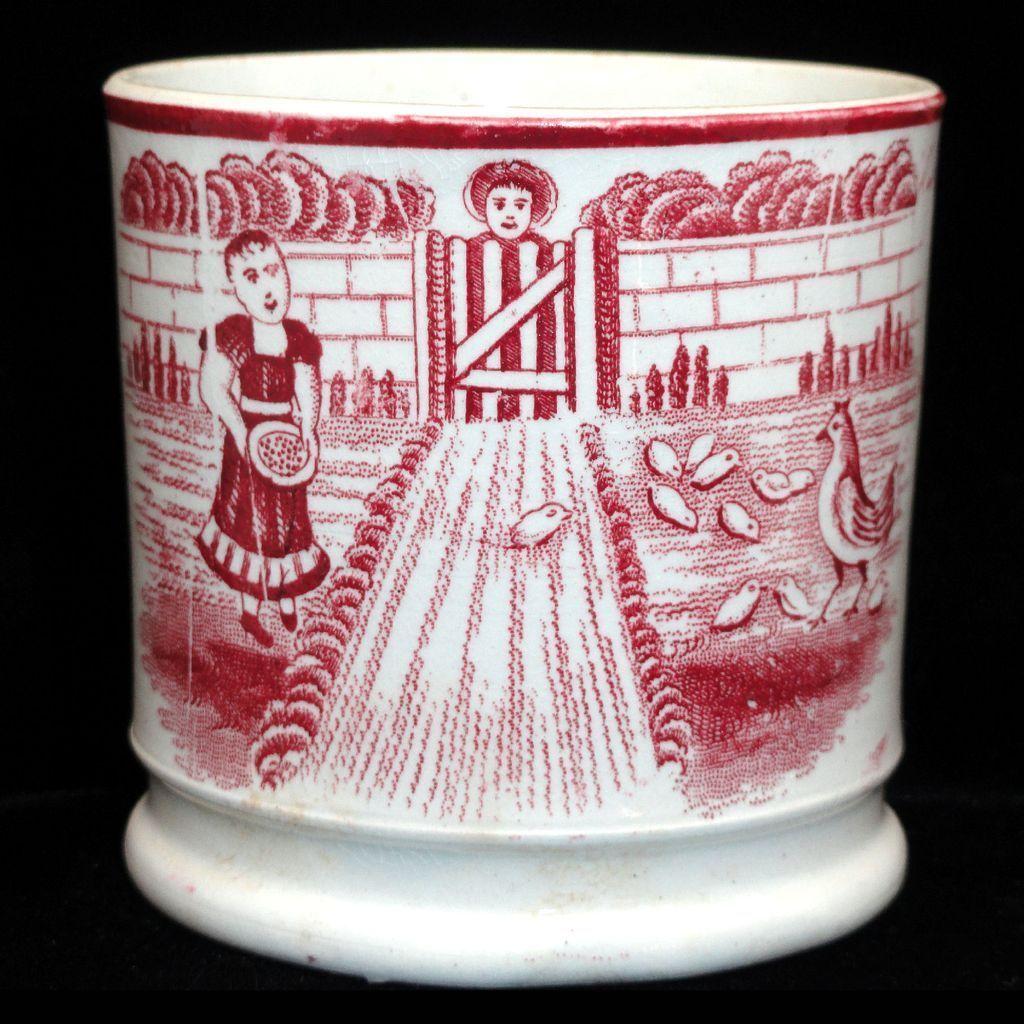 Early Childs Mug FEEDING CHICKENS Naive Staffordshire Folk Art c1850 ...