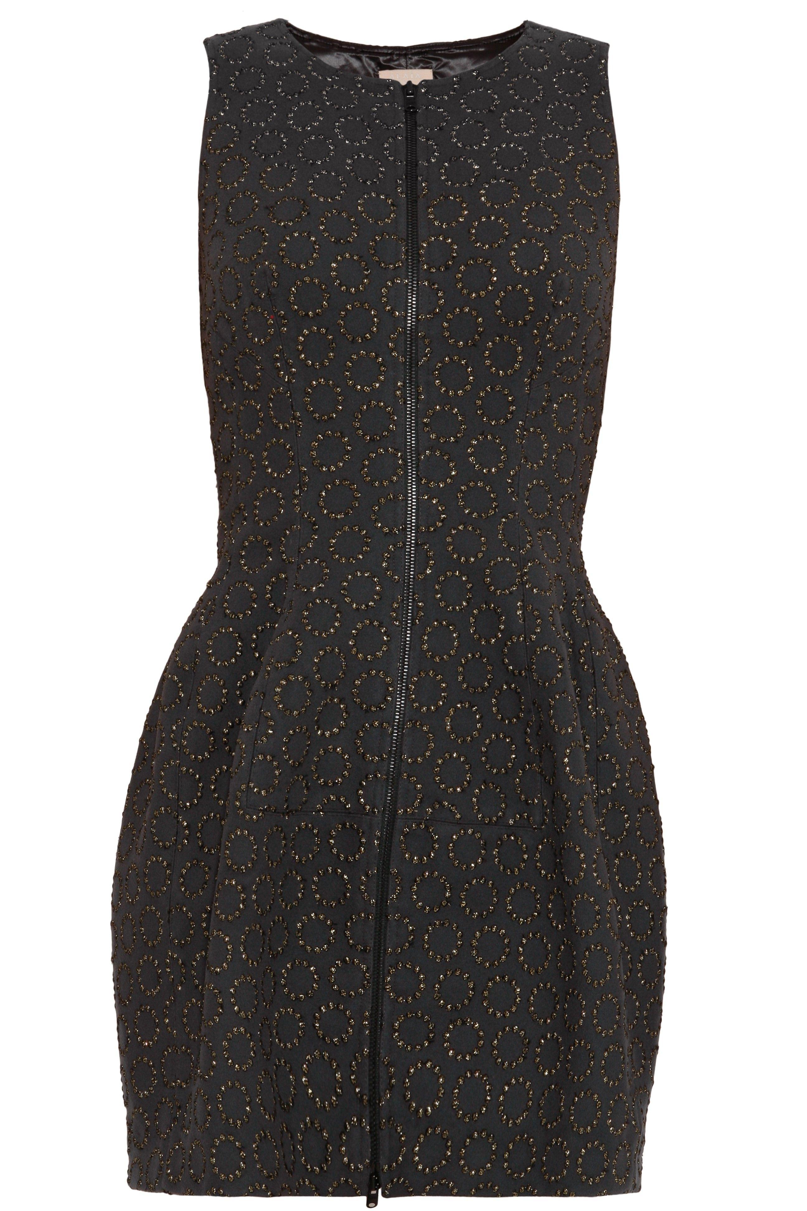 Circle Sparkle Zip Front Dress By ALAÏA @ http://www.boutique1.com/