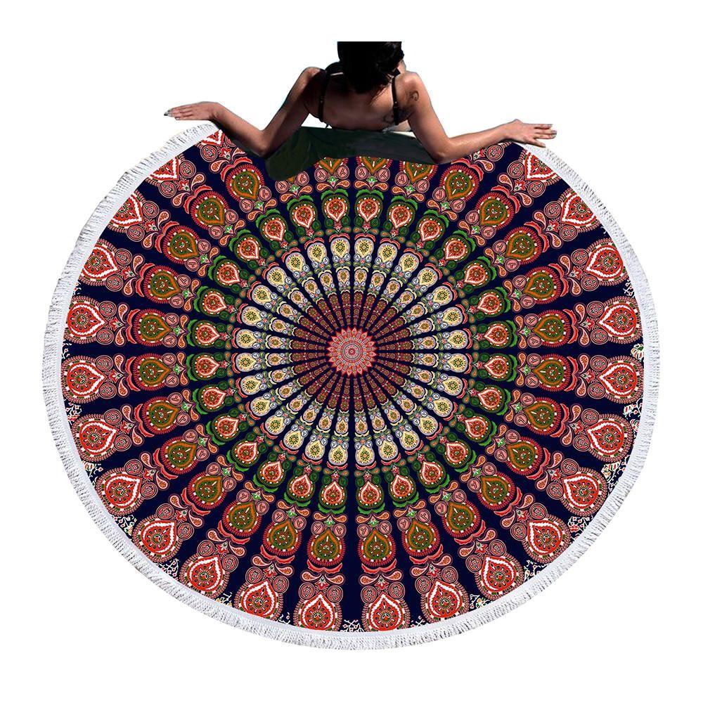 Bohemian Dream Catcher Round Beach Towel Tassel Tapestry Yoga Mat Throw Blanket