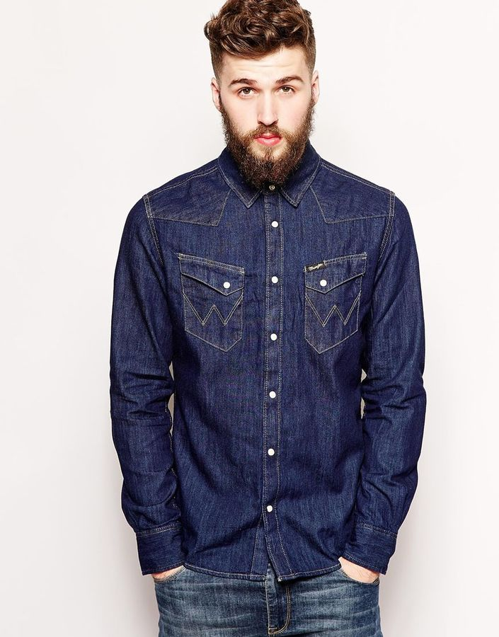 cf4717453 Wrangler Denim Shirt Slim Fit City Western Dark Indigo