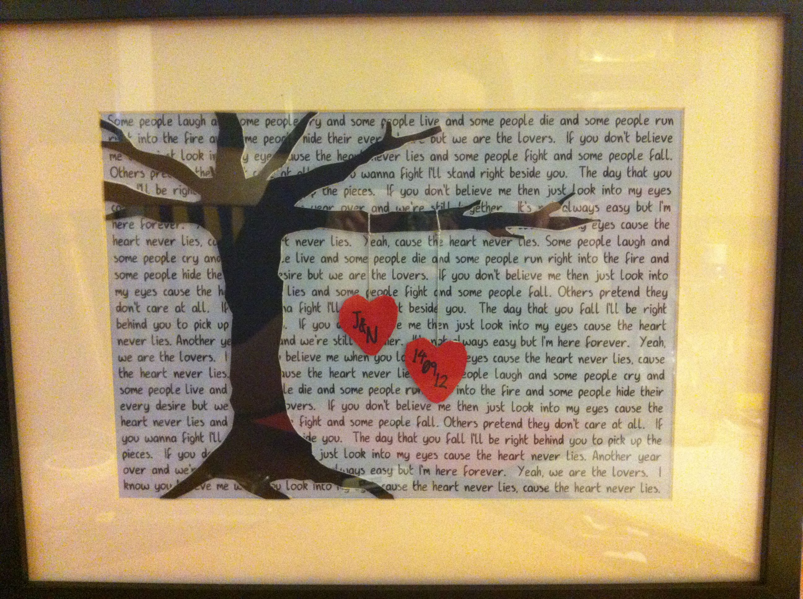 Wedding Gifts Homemade: Lyrics To Their First Dance Behind & Their Initials And
