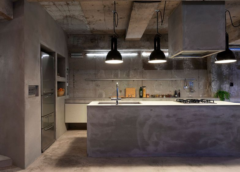 Concrete apartment by Airhouse Design Office displays clothing ...